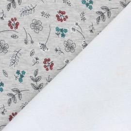 Tissu sweat envers minkee Joli jardin - gris chiné x 10cm