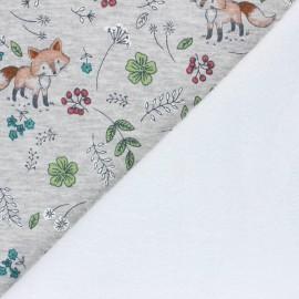 Tissu sweat envers minkee Le jardin de Barnabé - gris chiné x 10cm