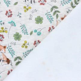 Tissu sweat envers minkee Le jardin de Barnabé - écru chiné x 10cm