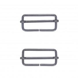40mm Sliding bar adjuster buckle - black nickel Lopa (set of 2)