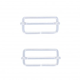 40mm Sliding bar adjuster buckle - silver Lopa (set of 2)