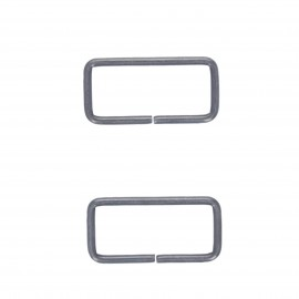 40mm Not-joined metal rectangle buckle - black nickel Lazo (set of 2)