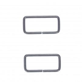 Boucle rectangle métal non soudée Lazo 40 mm - nickel noir (lot de 2)
