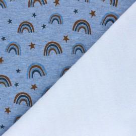 Sweatshirt with minkee fabric - mottled blue Cute rainbows x 10cm