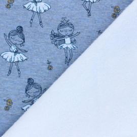 Tissu sweat envers minkee Pretty ballerina - bleu chiné x 10cm