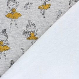 Tissu sweat envers minkee Pretty ballerina - gris chiné x 10cm