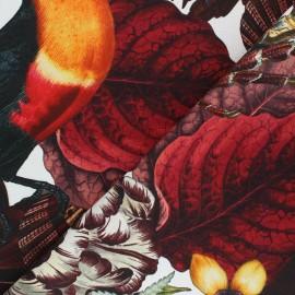 Tissu toile de coton Histoires naturelles - bordeaux x 63 cm