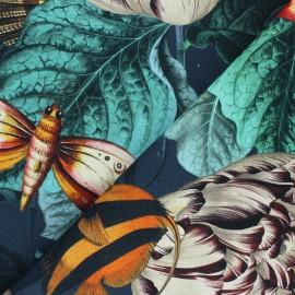 Tissu toile de coton Histoires naturelles - bleu x 63 cm