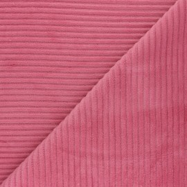 Thick ribbed velvet jersey fabric - candy pink x 10cm