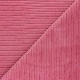 Tissu velours jersey grosses côtes - rose bonbon x 10cm