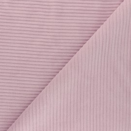 Thick ribbed velvet jersey fabric - rose water x 10cm