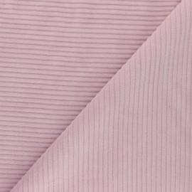 Tissu velours jersey grosses côtes - eau de rose x 10cm