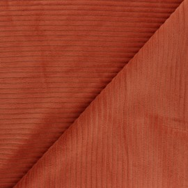 Thick ribbed velvet jersey fabric - ginger x 10cm