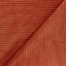 Tissu velours jersey grosses côtes - roux x 10cm