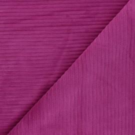 Tissu velours jersey grosses côtes - violine x 10cm