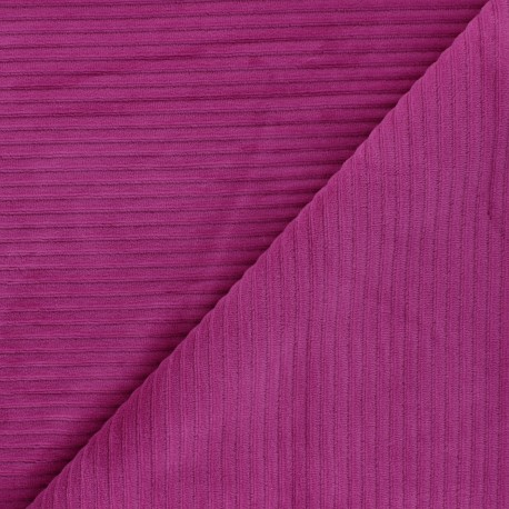 Thick ribbed velvet jersey fabric - red purple x 10cm