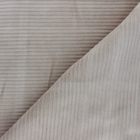 Thick ribbed velvet jersey fabric - greige x 10cm