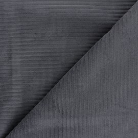 Thick ribbed velvet jersey fabric - dark grey x 10cm