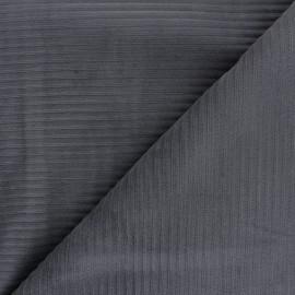 Tissu velours jersey grosses côtes - gris foncé x 10cm