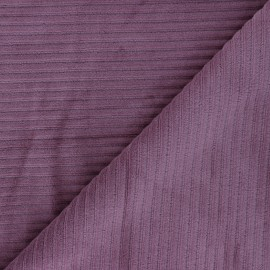 Tissu velours jersey grosses côtes - figue x 10cm
