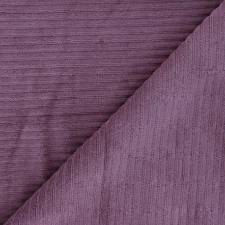 Thick ribbed velvet jersey fabric - fig x 10cm