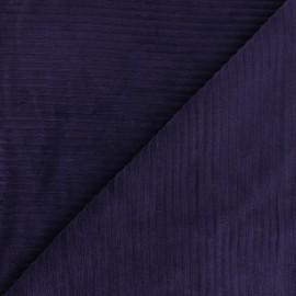 Tissu velours jersey grosses côtes - aubergine x 10cm