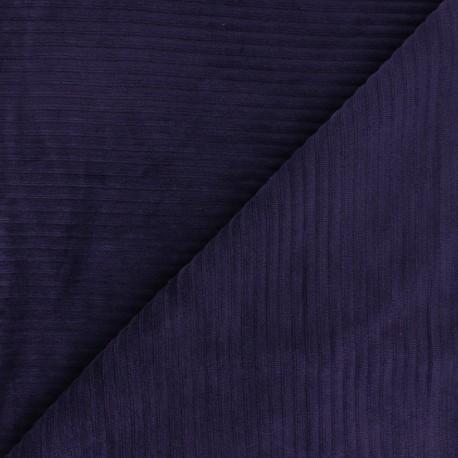 Thick ribbed velvet jersey fabric - eggplant x 10cm