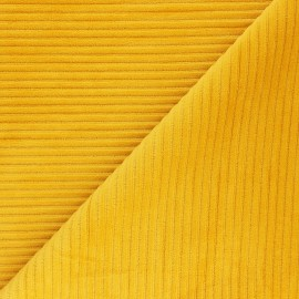 Tissu velours jersey grosses côtes - jaune moutarde x 10cm