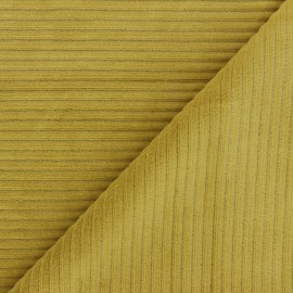 Tissu velours jersey grosses côtes - jaune curry x 10cm