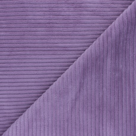 Thick ribbed velvet jersey fabric - lilac x 10cm