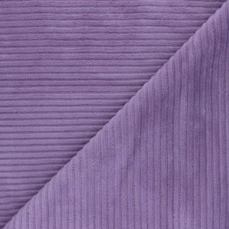Tissu velours jersey grosses côtes - lilas x 10cm