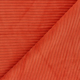 Thick ribbed velvet jersey fabric - carrot x 10cm