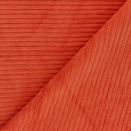 Tissu velours jersey grosses côtes - carotte x 10cm