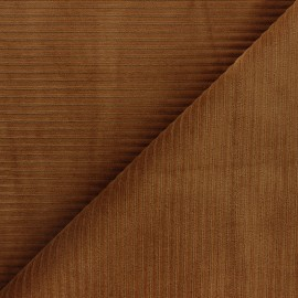 Thick ribbed velvet jersey fabric - camel x 10cm