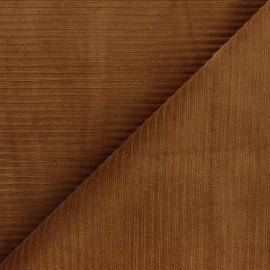 Tissu velours jersey grosses côtes - camel x 10cm