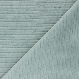 Thick ribbed velvet jersey fabric - celadon x 10cm
