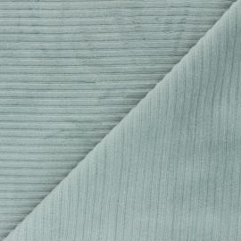 Tissu velours jersey grosses côtes - céladon x 10cm