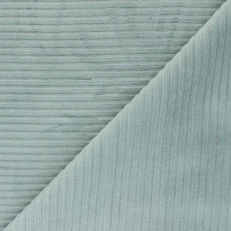 Thick ribbed velvet jersey fabric - celadon x 10cm