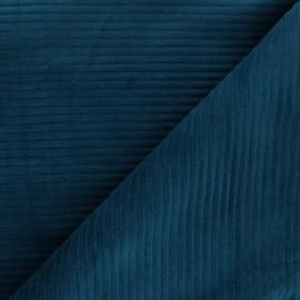Tissu velours jersey grosses côtes - bleu canard x 10cm