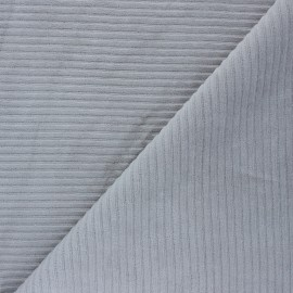 Thick ribbed velvet jersey fabric - mouse grey x 10cm