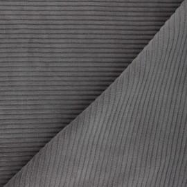 Tissu velours jersey grosses côtes - gris x 10cm