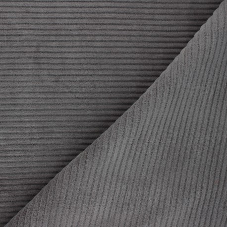 Thick ribbed velvet jersey fabric - grey x 10cm