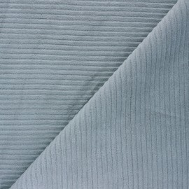 Thick ribbed velvet jersey fabric - smoked grey x 10cm