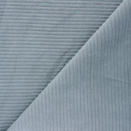 Tissu velours jersey grosses côtes - gris fumée x 10cm
