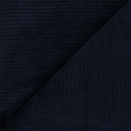 Thick ribbed velvet jersey fabric - night blue x 10cm