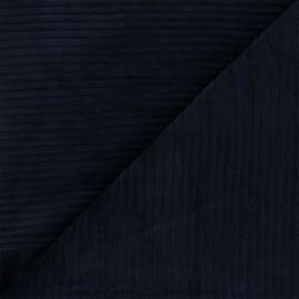 Tissu velours jersey grosses côtes - bleu nuit x 10cm