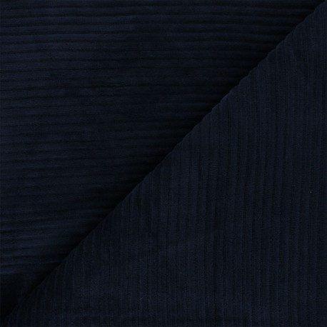 Thick ribbed velvet jersey fabric - night blue x 10cm