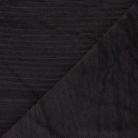 Tissu velours jersey grosses côtes - marron  x 10cm