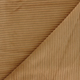 Thick ribbed velvet jersey fabric - light camel x 10cm