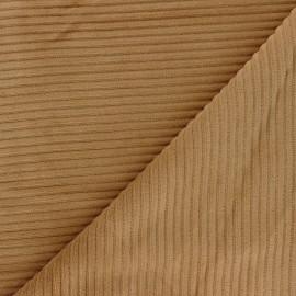 Tissu velours jersey grosses côtes - camel clair x 10cm